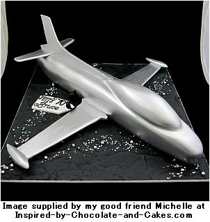 airplane cake silver jet